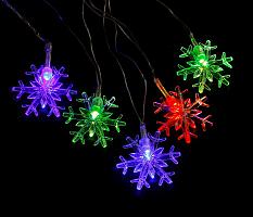 Гирлянда снежинки SNL-320W, 20шт светод.ламп, 3м, хол.бел.