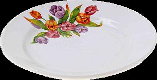 "Тарелка мелкая 200мм, гр. 8, ""Тюльпаны-2"" /по 26 шт.     (26)     056"
