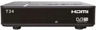 Ресивер эфирный цифровой DVB-T2 HD HD-34 пластик, дисплей, Эфир