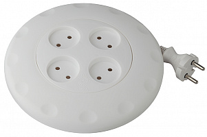 Удлинитель UR-4-5m-W  ЭРА (белый) рулетка, без заземл, 2x0.75мм2, 4гн, 5м