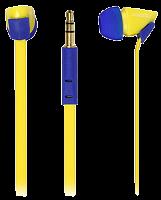 Внутриканальные наушники 7220 SmartBuy® TECHNA, плоский кабель, желт/синие (SBE-7220)/120