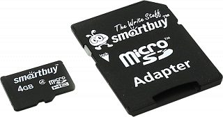 Карта памяти micro SD Smartbuy 4GB+адаптер  class 4
