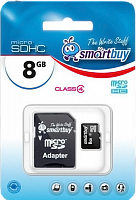 Карта памяти SD micro Smartbuy 8.0 Gb + адаптер- SD (класс4)