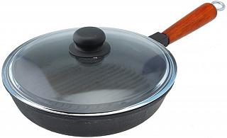 Сковорода чугунная гриль 240/50-1 КТС с деревянной(пластмассовой) ручкой стекл крышкой