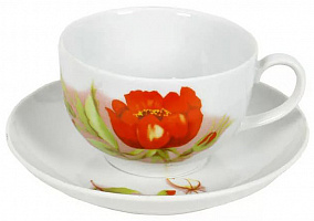 Чашка чайная с блюдцем 210 мл Янтарь Альпийские цветы красные70222