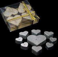 Свеча  Сердце 5,0см. в ПВХ 4шт./серебро, 401116