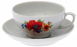 Чашка чайная с блюдцем 220 мл Тюльпан Полевой мак эконом 76782