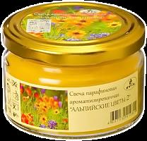 "Свеча ""Альпийские цветы-2"" парафин, стекло, металл, 6х8,5см, арт.1304031003"