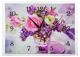 """Часы настенные """"Пионы и сирень в вазе"""" 35х25см, стекло, 2535-1214 (5) 581-677"""