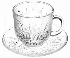 Чайная пара (кружка 200мл с блюдцем), стекло, Флорин 879-144
