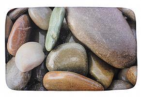 599-086 Коврик для ванной КАМУШКИ SonWelle флис, принт, губка, 1,2см, 50x80см