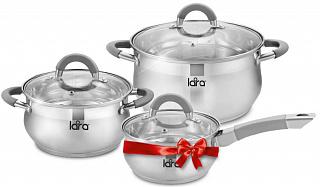 LR02-95 Набор посуды LARA Bell PROMO  + Подарок сотейник 1.7л - LR03-09