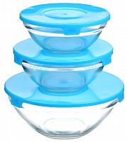 828-204 Набор салатников 3 шт с крышками, стекло (170мм/960мл; 140мм/490мл; 120мм/400мл)