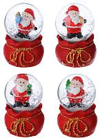 СНОУ БУМ Снежный шар 6,3 см, полистоун, LED, с Дедом Морозом, 4 дизайна