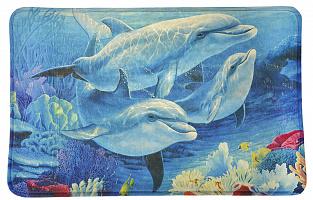 """Коврик для ванной VETTA микрофибра, 0,4см, 50х80см, """"Дельфины"""" 462-619"""
