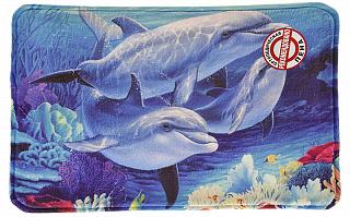 """Коврик для ванной флис VETTA, принт, ортопедическая пена 1,2см, 40x60см, """"Дельфины"""" 462-594"""