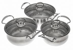 822-026 Набор кухонной посуды 6 пр.Лидс , кастрюли 1,5л+2л+2,5л, с крышками d16+d18+d20, KG06A020