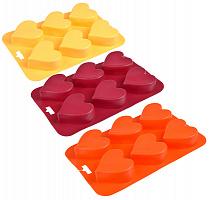 """891-003 Форма силиконовая 6 ячеек VETTA , 16,5х24,5х3см, """"Сердечки"""", 3 цвета, HS-011B"""