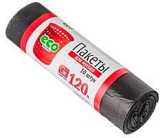 449-033 Мешки для мусора 120л GRIFON, 14 мкм, ПНД черные, 10шт в рулоне, 101-008