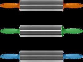 Скалка большая нерж 3 цв NEW, 44см, AN80-116