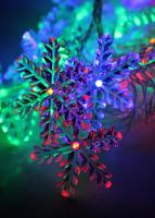 Светодиодная гирлянда КОСМОС 30 светодиодов, снежинки мультиколор,  4,4м, 8 режимов мигания KOC_GIR30LEDSNOW_RGB