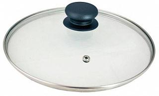 Крышка 987018 с ручкой стеклянная 26см., с метал/обод, паровыпуск,низ.