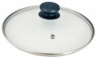 Крышка 987016 с ручкой стеклянная 22см., с метал/обод, паровыпуск,низ.