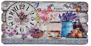 Часы настенные, МДФ, 40х20см, 1хАА, Сюжетные с Лавандой 581-653