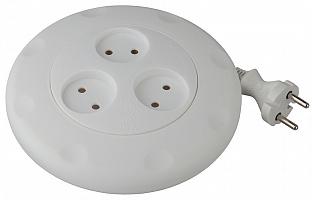 Удлинитель UR-3-3m-W  ЭРА (белый) рулетка, без заземл, 2x0.75мм2, 3гн, 3м