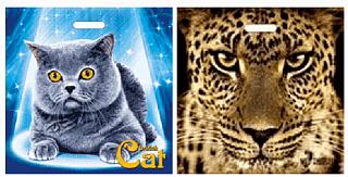 Пакеты с проб.ручкой  70 мкм, 44*44см.Черный кот,Британец, Ягуар, Экзотика
