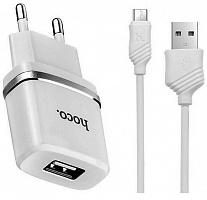 СЗУ-USB HOCO C11 1А + кабель Micro USB белый
