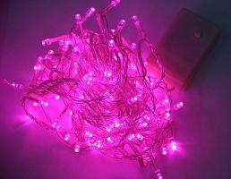 Светодиодная гирлянда КОСМОС 120 светодиодов, розовый, 12,8м, 8 режимов мигания KOC_GIR120LED_P