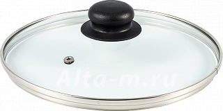 Крышка стеклянная с метал/обод 24 см низ. 4724, ФЭ9-9